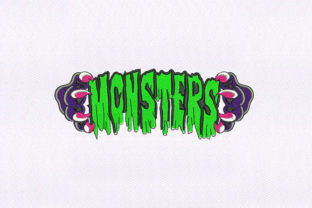 Monsters Text Halloween Embroidery Design By DigitEMB