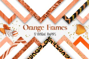 Print on Demand: Orange Frames Background Digital Papers Graphic Backgrounds By PinkPearly