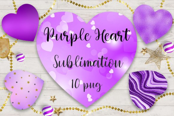 Sublimation Purple Heart Clipart Graphic Backgrounds By PinkPearly