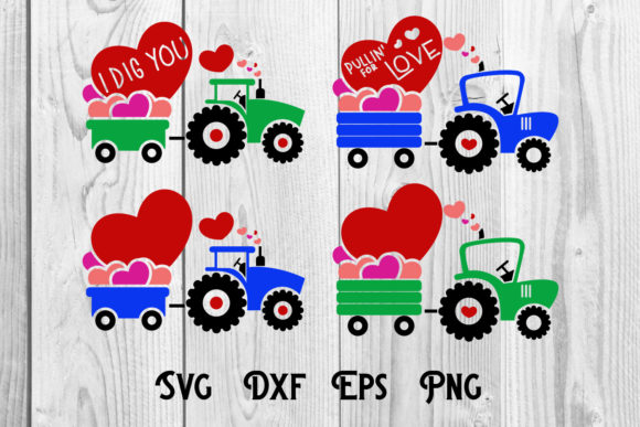 Print on Demand: Tractor and Heart Valentine, Valentine Graphic Print Templates By dadan_pm