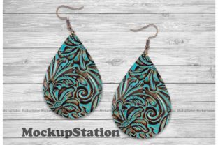 Print on Demand: Turquoise Embossed Leather Earring PNG Graphic Crafts By Mockup Station