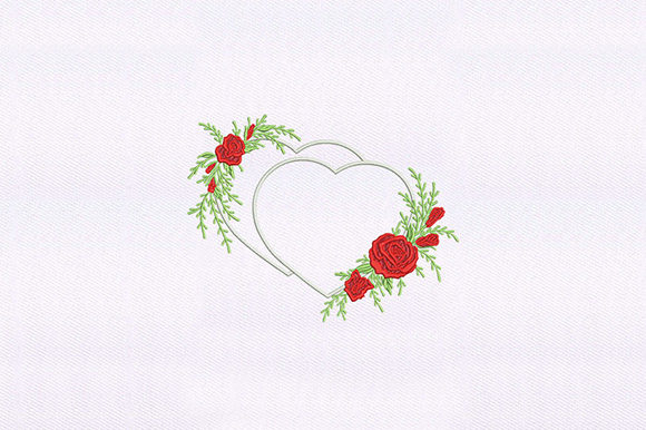 Two Hearts and Roses Arrangement Wedding Designs Embroidery Design By DigitEMB