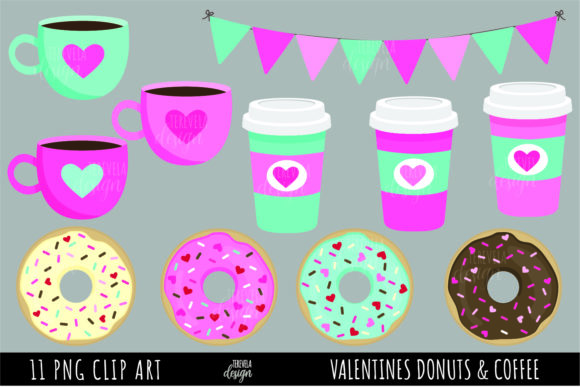 VALENTINES DONUTS, DONUTS and COFFEE Graphic Illustrations By tere_velasco