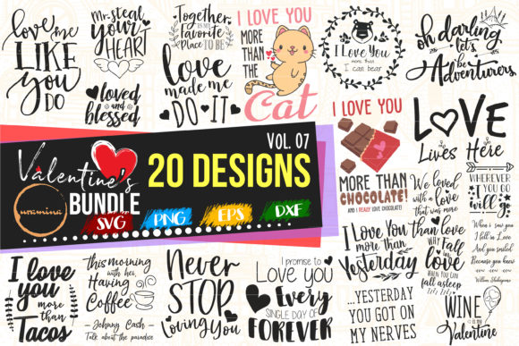 Print on Demand: Valentine Bundle Vol.07 Cut & Printables Graphic Crafts By Uramina