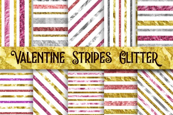 Valentine Stripes Glitter Digital Papers Graphic Backgrounds By PinkPearly