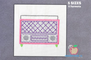 Vintage Radio Applique Music Embroidery Design By embroiderydesigns101