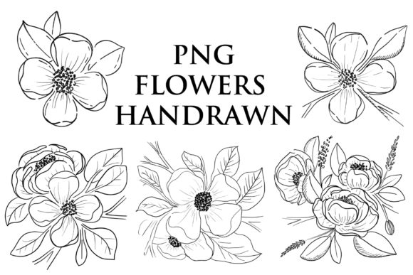 Print on Demand: Flowers Handrawn Png Graphic Illustrations By goodigital