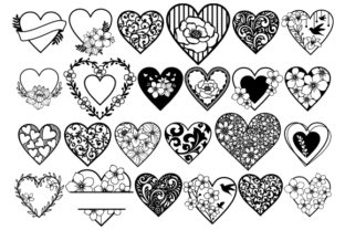 Print on Demand: 24 Heart Mandala, Heart Clip Art Graphic Crafts By CarryBeautySVG