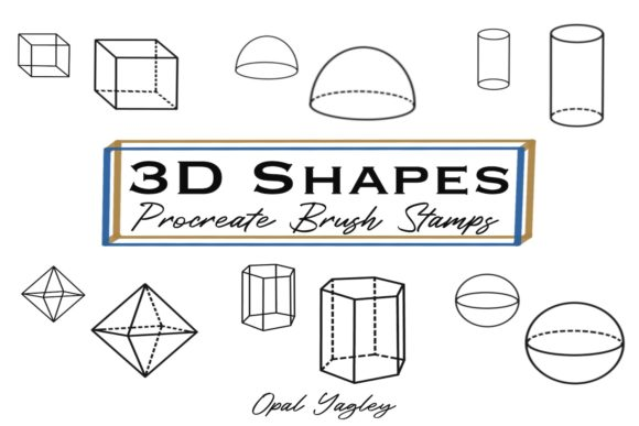 Print on Demand: 3D Shapes Procreate Brush Stamps Graphic Brushes By opal.yagley