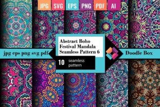 Abstract Boho Festive Mandala Seamless 6 Graphic Patterns By DoodleBox