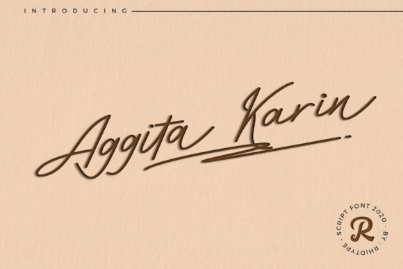 Print on Demand: Aggita Karin Script & Handwritten Font By RHIDTYPE