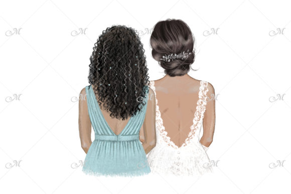 Black Bride and Bridesmaid Illustration Graphic Illustrations By MaddyZ
