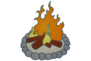 Print on Demand: Bonfire Camping & Fishing Embroidery Design By embroidery dp