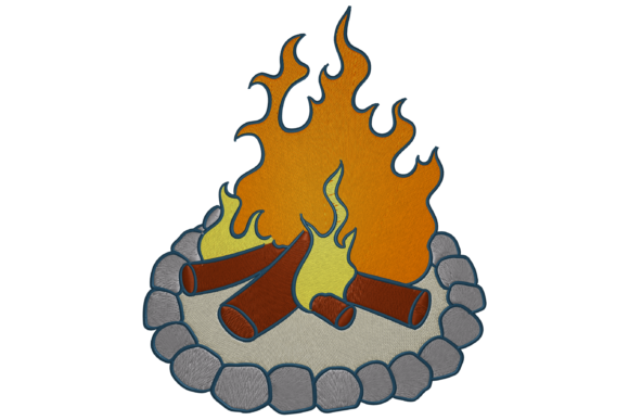 Bonfire Camping & Fishing Embroidery Design By Digital Creations Art Studio