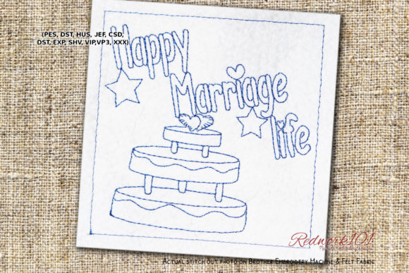 Cake with Happy Marriage Life Redwork Wedding Designs Embroidery Design By Redwork101