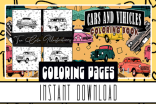 Cars and Vehicles Coloring Book Pages Graphic Coloring Pages & Books Kids By Rabbit Art