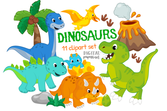 Print on Demand: Colorful Dinosaurs Clipart Grafik Illustrationen von DigitalPapers