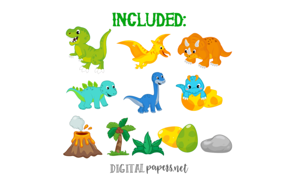 Colorful Dinosaurs Clipart Graphic Download