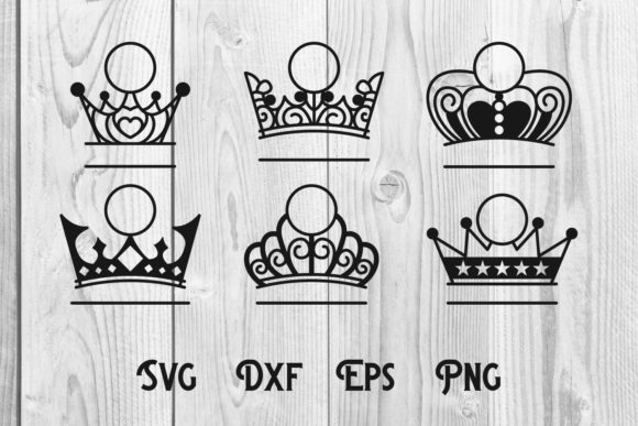 Print on Demand: Crown Split Monogram Cut File Svg Dxf Graphic Print Templates By dadan_pm