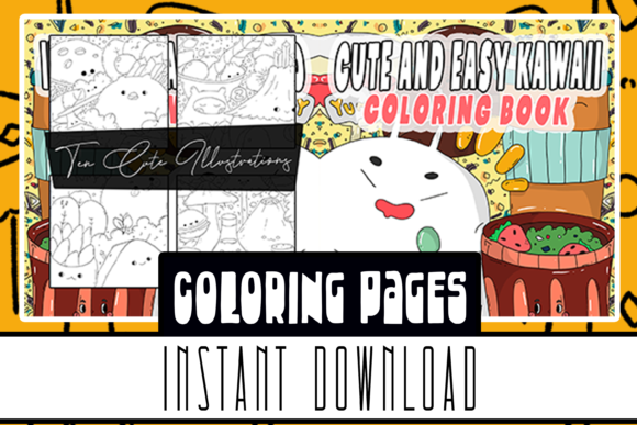 Cute and Easy Kawaii Coloring Book Pages Graphic Coloring Pages & Books Kids By Rabbit Art