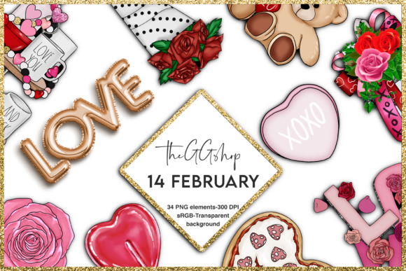 Print on Demand: Cute Valentine's Day Clipart Set Grafik Illustrationen von TheGGShop