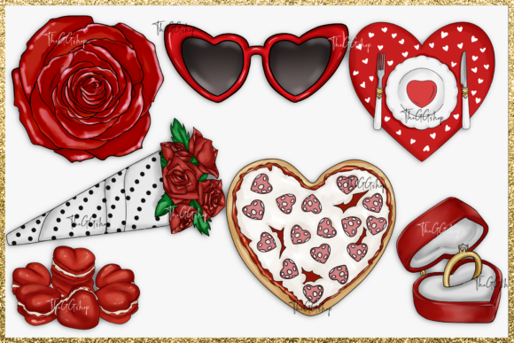 Cute Valentine's Day Clipart Set Graphic Download