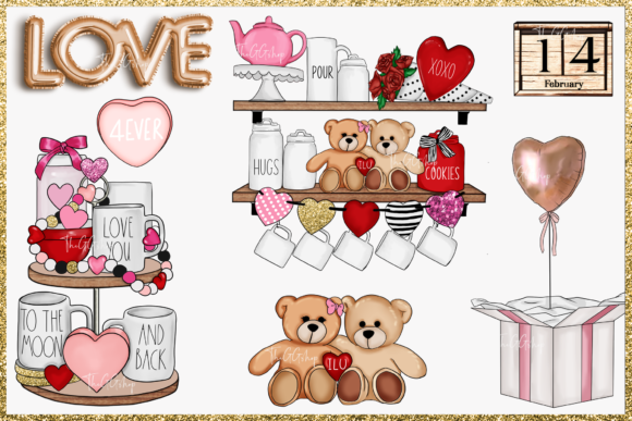 Cute Valentine's Day Clipart Set Graphic Preview