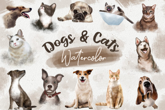 Print on Demand: Dogs and Cats Watercolor Collection Grafik Illustrationen von Universtock