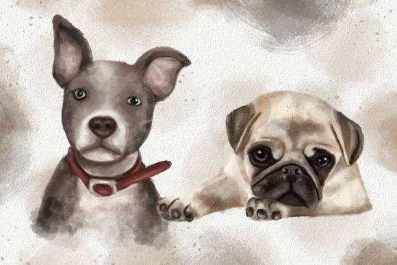 Dogs and Cats Watercolor Collection Graphic Design