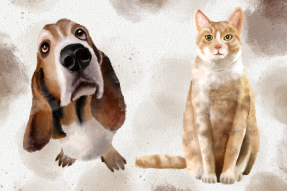 Dogs and Cats Watercolor Collection Graphic Preview