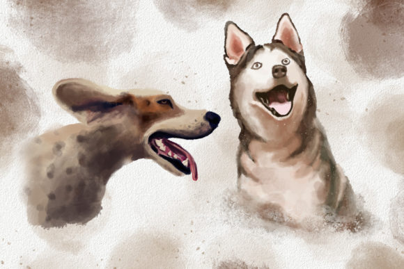 Dogs and Cats Watercolor Collection Graphic Image