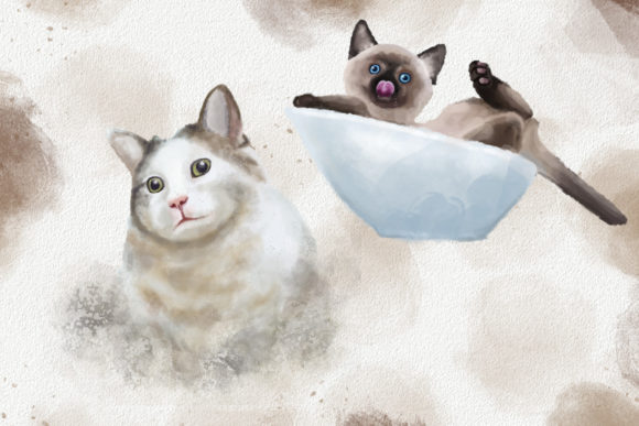 Dogs and Cats Watercolor Collection Graphic Design Item