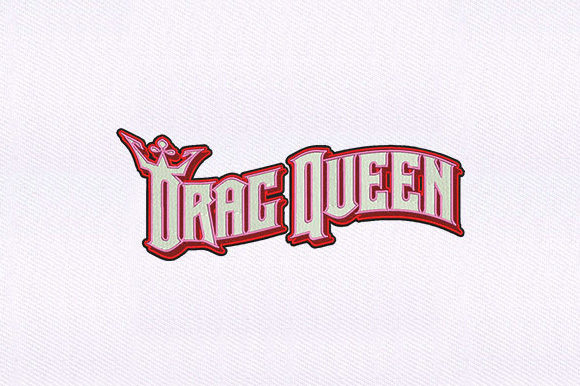 Drag Queen Text Beauty Embroidery Design By DigitEMB