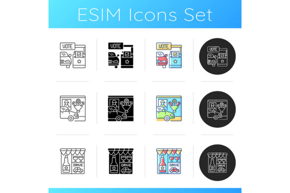 Print on Demand: Drive in Services Icons Set Graphic Icons By bsd studio