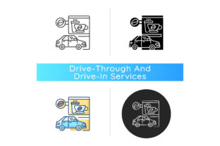 Print on Demand: Drive Through Coffee Shop Icon Graphic Icons By bsd studio