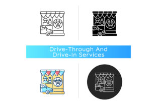 Print on Demand: Drive Through Dairy Shop Icon Graphic Icons By bsd studio