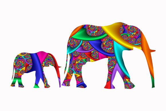 Print on Demand: Elephants Cute Logo Icon African Animal Graphic Illustrations By Chiplanay