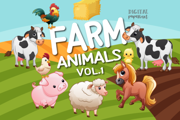 Print on Demand: Farm Clipart - VOL 1 Grafik Illustrationen von DigitalPapers