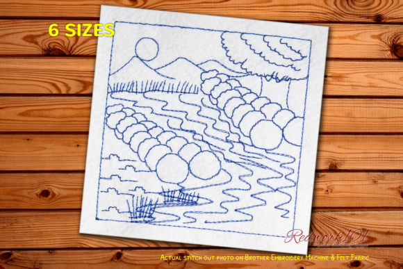 Floating River Lineart Cities & Villages Embroidery Design By Redwork101