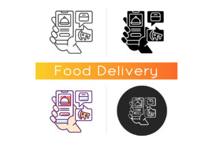 Print on Demand: Food Delivery App Icon Graphic Icons By bsd studio