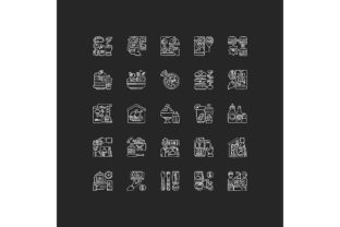 Print on Demand: Food Delivery Chalk White Icons Set Graphic Icons By bsd studio