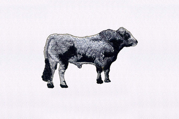 Gray and Black Cow Farm Animals Embroidery Design By DigitEMB