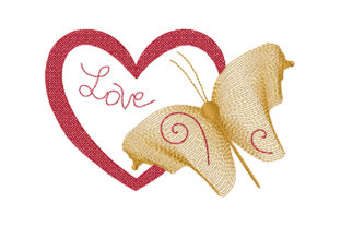 Print on Demand: Heart, Butterfly, Love Valentine's Day Embroidery Design By EmbArt