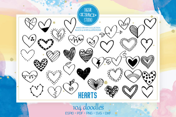 Hearts Doodles | Hand Drawn Romance Graphic Illustrations By Digital_Draw_Studio