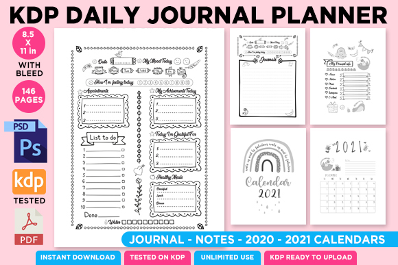 Print on Demand: KDP Daily Journal Planner Organizer Vol1 Graphic KDP Interiors By Queen Dreams Store