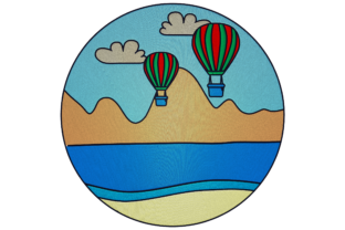 Print on Demand: Landscape with Air Balloons Travel & Season Embroidery Design By embroidery dp