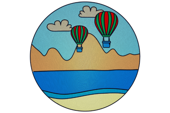 Landscape with Air Balloons Travel & Season Embroidery Design By Digital Creations Art Studio