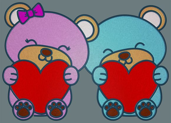 Love Little Bears Animals Embroidery Design By Digital Creations Art Studio