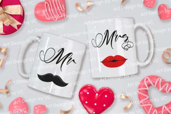 Print on Demand: Love Valentine Couple Mugs Mock Up 2 Graphic Product Mockups By V-Design Creator