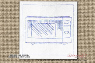 Microwave Oven Redwork House & Home Quotes Embroidery Design By Redwork101